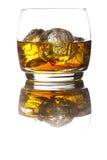 Alkoholiczny whisky bourbon w szkle z lodem fotografia stock