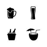 alkoholiker Einfache in Verbindung stehende Vektor-Ikonen stock abbildung
