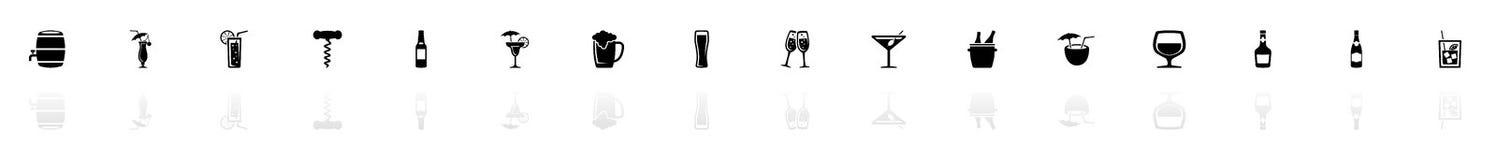 Alkoholiker - flache Vektor-Ikonen lizenzfreie abbildung