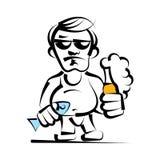 Alkoholiker mit Vektorillustration der Bierflasche in der Hand vektor abbildung