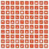 100 Alkoholikonen stellten Schmutz orange ein Stockfoto
