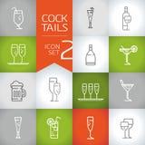 Alkoholische Getränke und Cocktailentwurf Vektorikonen eingestellt Lizenzfreie Stockfotos