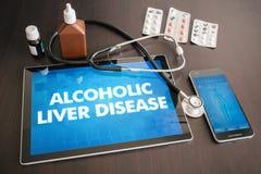 Alkoholiserad läkarundersökning för diagnos för leversjukdom (leversjukdom) arkivfoto