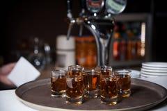 alkoholiserada shots arkivbild