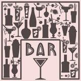 Alkoholkarte mit Barelementen lizenzfreie abbildung
