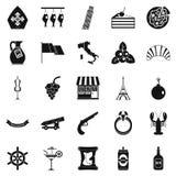 Alkoholsymbolsuppsättning, enkel stil stock illustrationer