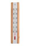 Alkoholtermometern med träkroppen indikerar 0 grader Arkivfoton
