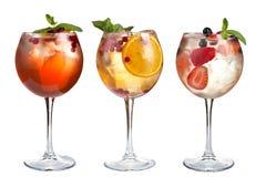 Alkoholu koktajl z mennicą, owoc i jagodami na białym tle, Set koktajle w szklanych czara na długim trzonie obraz royalty free