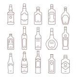 Alkoholu napój butelkuje typ wektorowe ikony ustawiać ilustracji