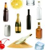 Alkoholu napój w butelce, wektorowe ikony ustawiać Obraz Stock