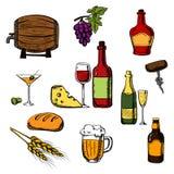 Alkoholu napoje, napoje i jedzenie, ilustracji