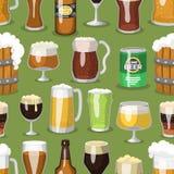 Alkoholu piwnego ale orzeźwienia szklany wektorowy ilustracyjny browar i przyjęcie napoju kubka mroźny rzemiosło pijemy bezszwowe royalty ilustracja