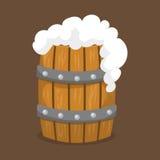 Alkoholu wektoru piwna baryłka z biel piany orzeźwienia ilustracyjnym browarem i zmroku napoju rzemiosło pijemy ilustracja wektor