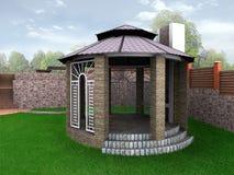 Alkovet för landskapdesignträdgården, 3D framför Arkivfoto
