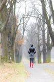Allée automnale de bidon de femme Image libre de droits
