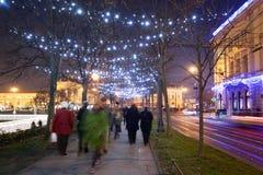 Allée décorée d'arbre plat dans Zrinjevac Images stock