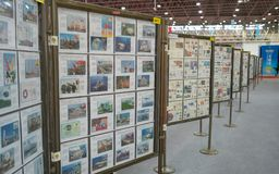Stamps exhibit alley at the China 2019 World stamp exhibition in Wuhan