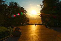 Allée de Kremlin au coucher du soleil Photographie stock