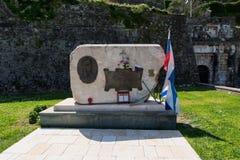Allée de monument de la Russie-Grèce de mémoire et d'amitié près de la nouvelle forteresse de Corfou, Kerkyra, Grèce Image stock