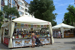 Allée de supports de livre, Varna Photos libres de droits