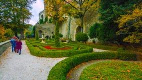 Allée en parc - Pologne du nord - automne - feuilles en baisse de beaux arbres - janvier 2019 photographie stock