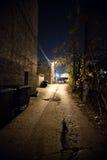 Allée foncée de ville la nuit images stock