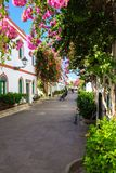 Allée merveilleuse avec les fleurs colorées dans Puerto De Mogan Photos libres de droits