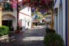 Allée merveilleuse avec les fleurs colorées dans Puerto De Mogan Image libre de droits