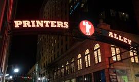 Allée Nashville, Tennessee d'imprimantes Images stock