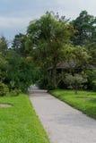 Allée tranquille dans le jardin botanique de Munich, Allemagne Photo libre de droits