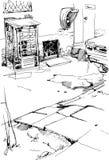 Allée urbaine avec des cabines téléphoniques illustration de vecteur