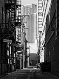 Allée urbaine noire et blanche Image libre de droits