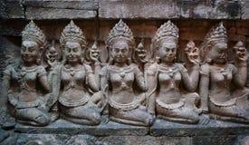 Allégement de mur chez Angkor Thom, Cambodge Photographie stock