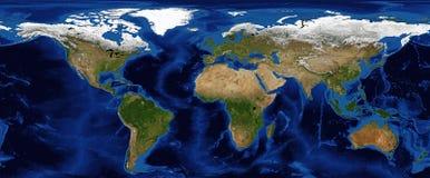 Allégement ombragé de carte du monde avec la bathymétrie Images libres de droits
