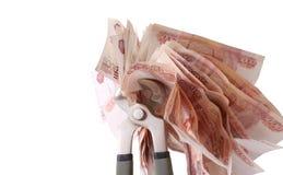 Allégorie de la crise financière globale - le rouble russe dans la poignée de la crise économique Images libres de droits