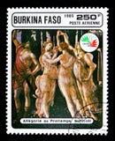 Allégorie de ressort, par Botticelli, exposition de timbre ITALIE \ '85 s Photographie stock libre de droits