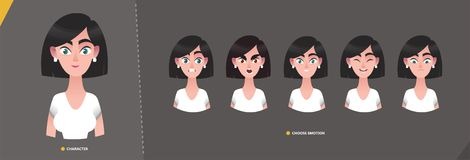 Young cartoon  character woman in business style for animation and motion design vector illustration