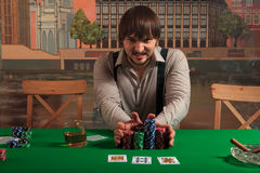 All-in. A poker player bets all the chips Royalty Free Stock Image