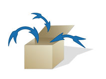 All in. Several arrows pointing in an illustrated box vector illustration
