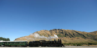 All aboard 2. Old Steam train in NZ royalty free stock photos