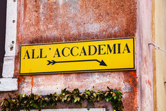 All Accademia direction sign in Venice Stock Images