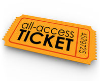 All Access Ticket for Rides Movie Show Concert Special Admission. All Access Ticket words on an orange pass giving you special, exclusive, unlimited admission to vector illustration