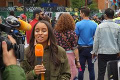 London Carnival News Reporter 2018 stock photography