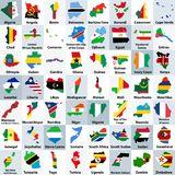 All African countries maps mixed with their national flags and arranged in alphabetical order. All African countries maps mixed with their national flags and stock illustration