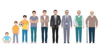 All Age Generation Men Set. Different generations full length silhouette european men isolated set vector illustration Stock Photography