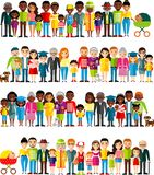 All age group of african american, european people. Generations man and woman. Royalty Free Stock Photo