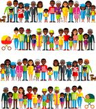All age group of african american people. Generations man and woman. Stock Image