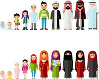 All age group of arab family. Generations man and woman. Stages of development people - infancy, childhood, youth, maturity, old age Stock Image
