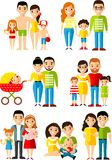 All age group of european people. Generations man and woman. Stock Photos