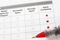 All agree. Closeup of a survey form with agree remarks checked Royalty Free Stock Images